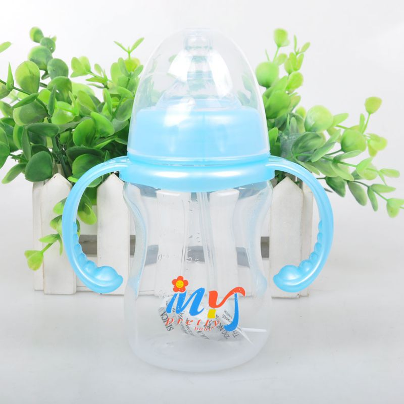 Daily Newborn Baby Feeding PP With Handle Wide-Neck Baby Feeder Wide Mouth Nipple Bottles 180ML