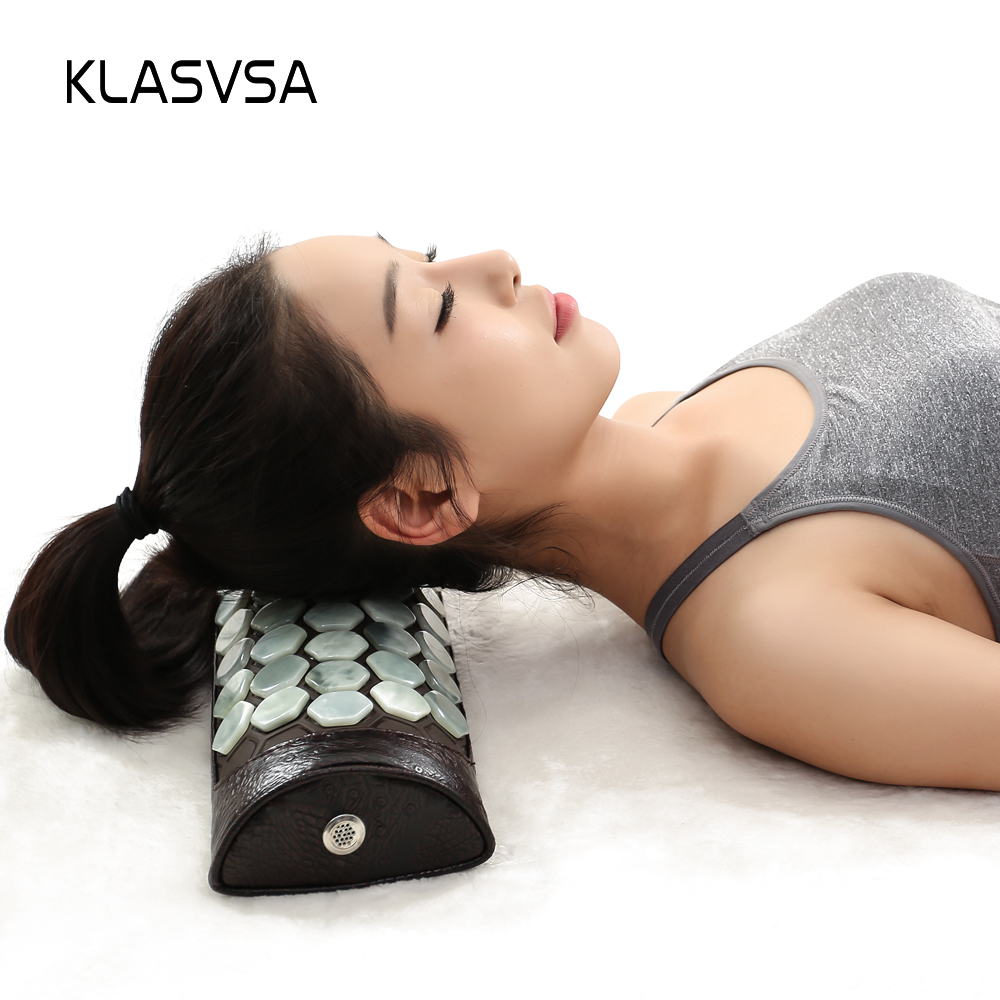 KLASVSA Natural Jade Neck Massager Pillow Far Infrared Cervical Traction Therapy Stretcher Health Care Pain Relief Relaxation high end health care neck cervical traction ems therapy massage collar infrared heating magnet vibration massager pain relief