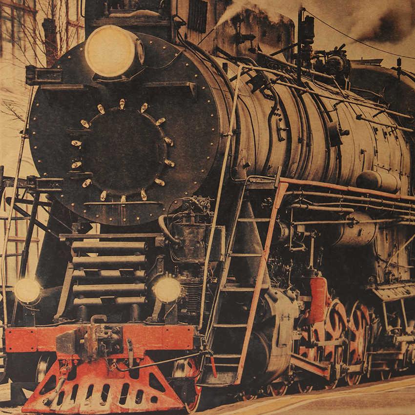 Dasi Ler Vintage Kereta Uap Nostalgia Vintage Kraft Kertas Poster Dekorasi Lukisan Dinding Stiker 36X51.5 CM