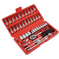 46 Pcs/set Car Repair Tool Sets Combination Tool Wrench Set Batch Head Pawl Socket Spanner Screwdriver Head Set