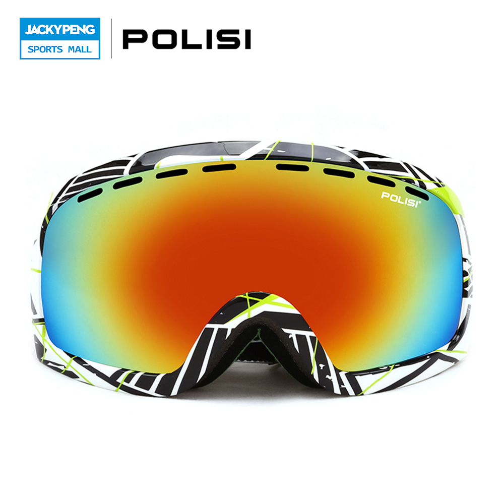 ФОТО POLISI Ski Snowboard Goggles Anti-fog Double Layer Big Spheral Lens Snow Eyewear 100% UV Protection Skate Protective Glasses