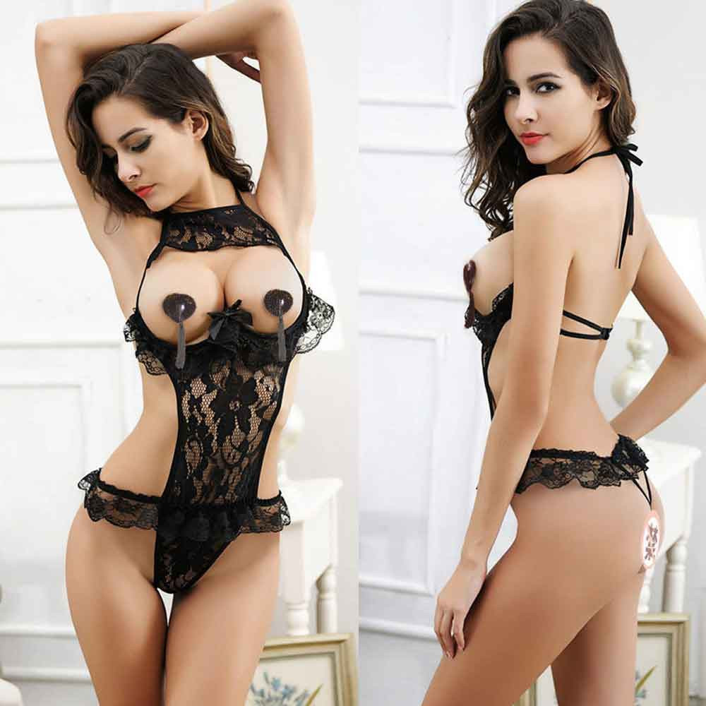 Sexy Lingerie Lace Floral Open Bust Transparent Sleepwear Pajamas Women Passion Sexy Exposed Cleavage Underwear Black