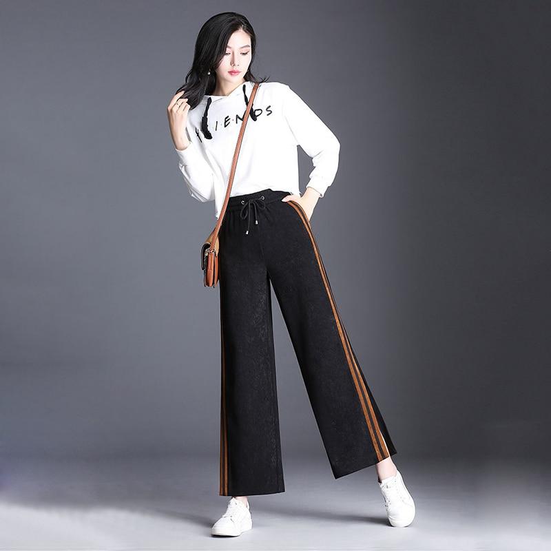Incendié Beige Printemps À Pantalon Femmes 2018 De marron Feuille Casual B2158mt1865 Lâche Mince pourpre Élégant Nouveau Style Larges Haute Jambes Taille Pantalons Sport qRrwpqnI4