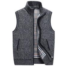 Осень зима для мужчин Шерсть свитера, жилет Пальто Мужской без рукавов Вязанный жилет куртка из плотного флиса свитер плюс размеры 3XL