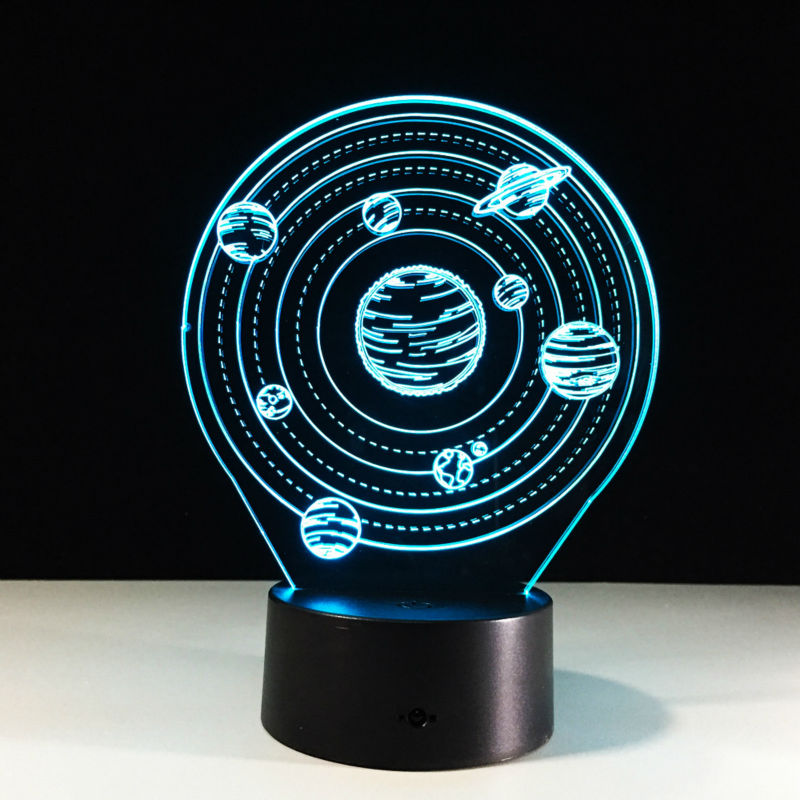 The universe A planet 3D Lamp Creative Small Desk Lamp The Solar System Night Light USB 7 Color chang Light As Childrens Gift