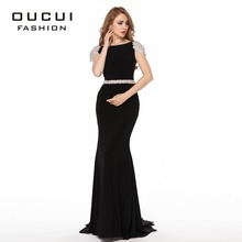 Jersey Fabric Sparkling Beading Handwork Sweetheart Mermaid Prom Dresses With Stones OL102432 cheap oucui Short Floor-Length Court Train Polyester Beading Sashes Trumpet Mermaid Natural Cap Sleeve Backless Full-Length