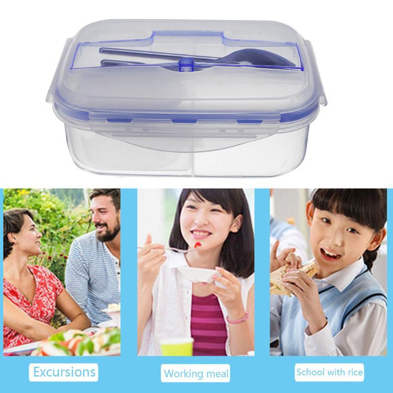 Écologique Conservation de La Chaleur Boîte À Lunch Portable Micro-ondes Bento Récipient de Nourriture avec Vaisselle Multi Grille Pique-Nique De Stockage des Aliments