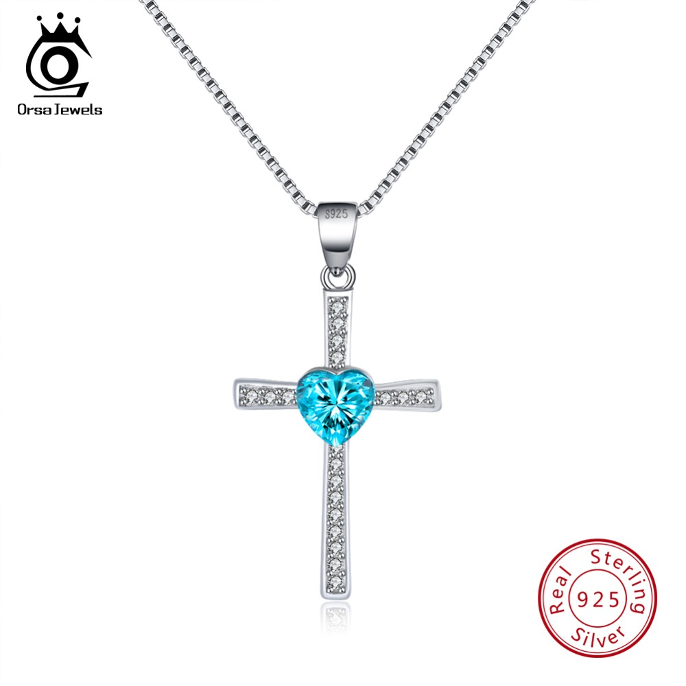 ORSA JEWELS 925 Sterling Silver Women Necklaces&Pendants Cross Shape Blue Color Heart AAA Zircon Necklace Fashion Jewelry SN88-L