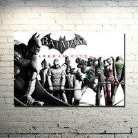Batman Arkham City Arkham происхождения видео игры Книги по искусству шелк Ткань плакат печать 13 х 24 дюймов номер Decor Фотографии