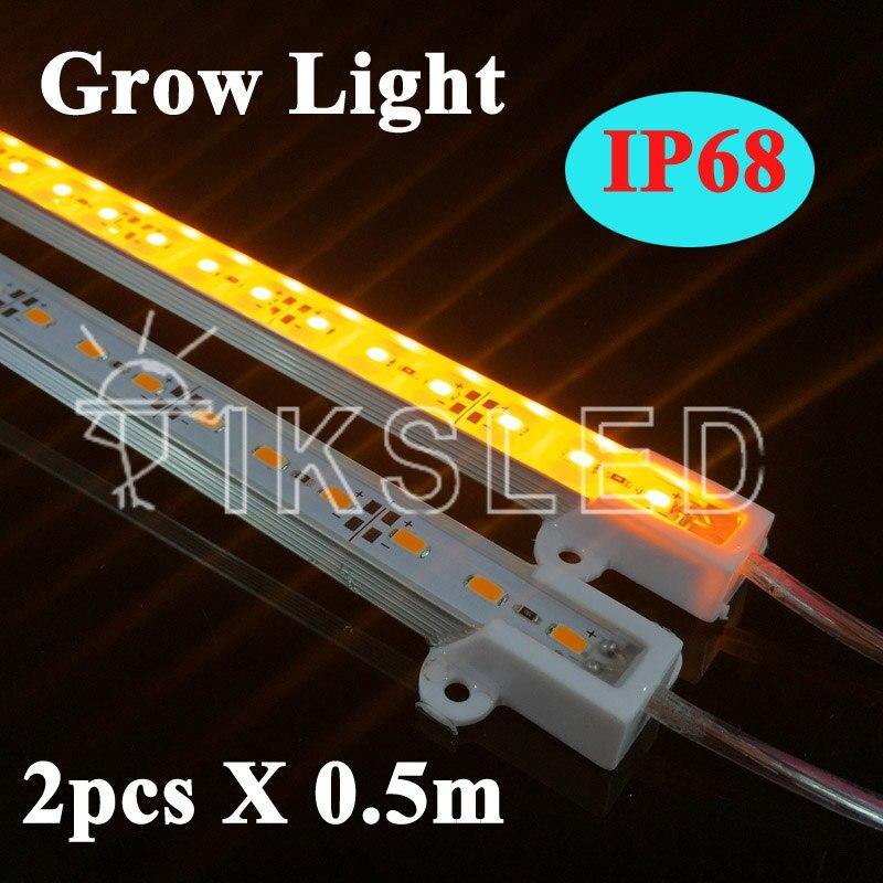2pcs*50cm DC12V 0.5m 5630 Led Bar Rigid Strip IP68 Waterproof Grow Light For Aquarium Greenhouse Hydroponic Plant