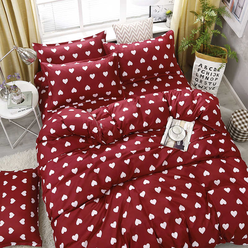 A34 4pcs/set Red Full Of Love Printing High Quality Bedding Set Bed Linings Duvet Cover Bed Sheet Pillowcases Cover Set