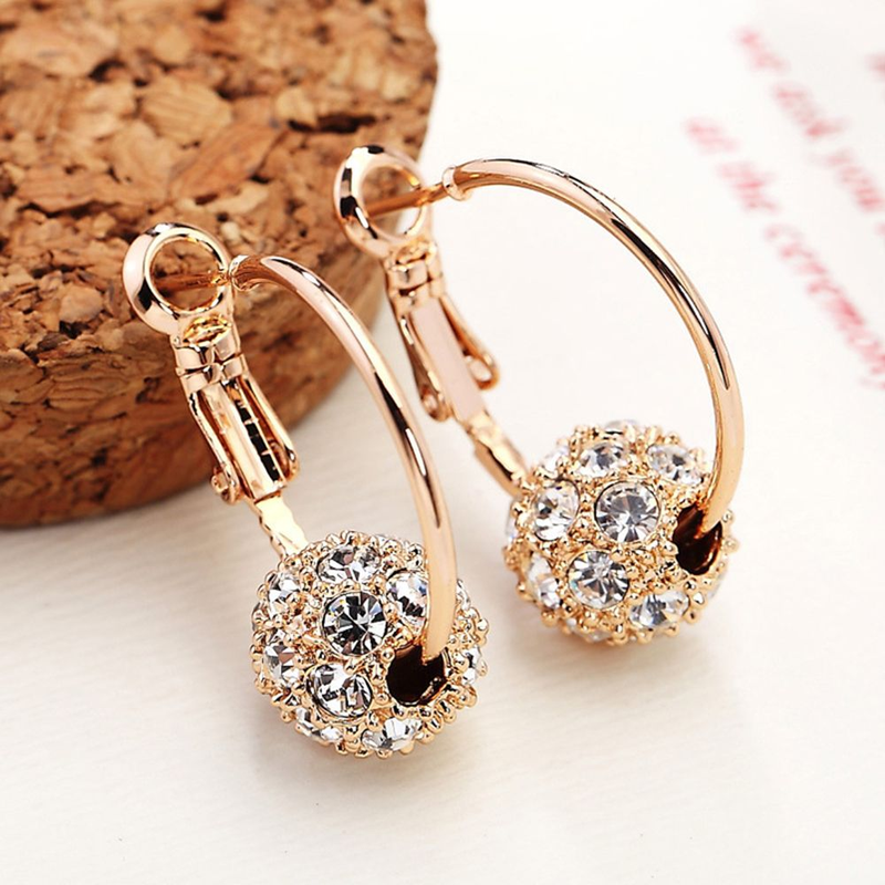 Korean Austrian Crystal Ball Rose Gold Silver Earrings High Quality Earrings for Woman Wedding Jewelry Boucle D'oreille Femme