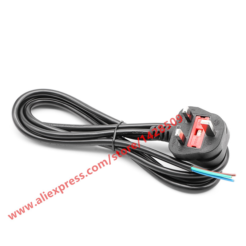 High Quality UK Plug <font><b>3</b></font> Wire <font><b>Power</b></font> Cord <font><b>Cable</b></font> Laptop <font><b>AC</b></font> <font><b>3</b></font> <font><b>Power</b></font> <font><b>Cable</b></font> 1.8M Bare <font><b>Cable</b></font> Tail image