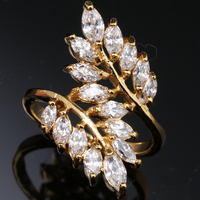 Classic White Topaz Cz Overlay 18K Gold Filled Fashion Party Jewelry Rings Size 6 7 8