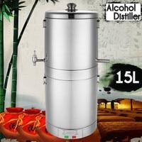 15L Fermentation Function DIY Home Brew Distiller Moonshine Alcohol Still Stainless Copper Boiler Water Wine Brewing Kit