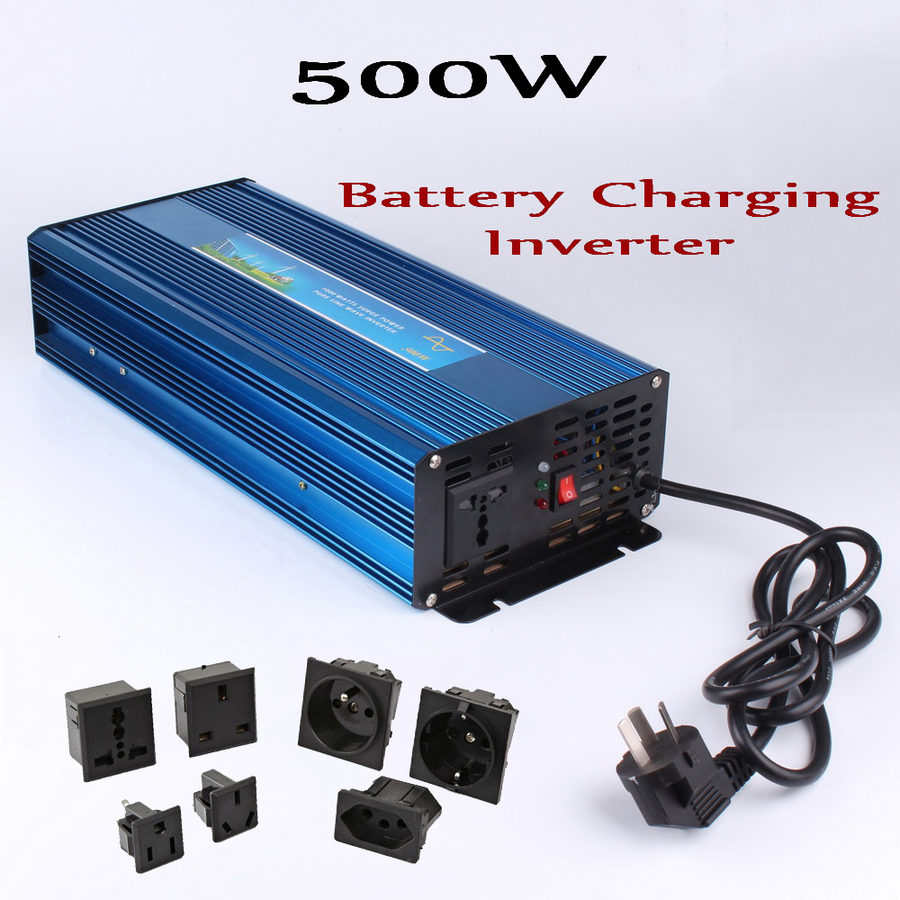 500W off grid inverter with Charge Function, pure sine wave output 12V 24V DC to AC 100/110/120/220/230/240V 500W Power Inverter 300w off grid inverter pure sine wave inverter for solar and wind 12v 24v dc to 100 110 120 220 230 240v ac