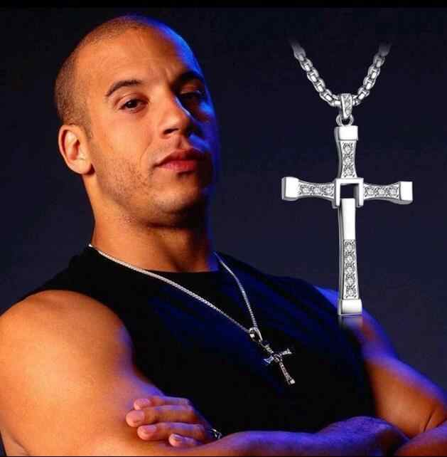 The Fast and the Furious Celebrity Vin Diesel Item Crystal Jesus Cross Pendant Necklace for Men Gift Jewelry