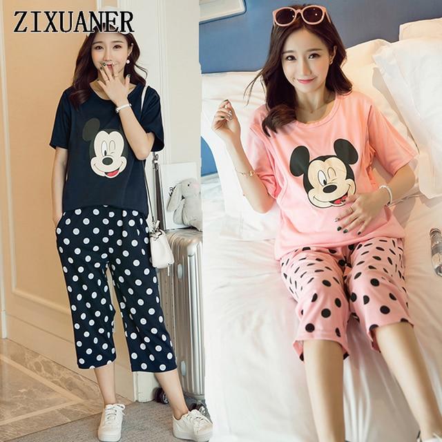 f2d02c224 ZIXUANER Enfermería lactancia Pijamas ropa de Dormir de Algodón Mujeres de Maternidad  para Embarazadas Ropa Camisón