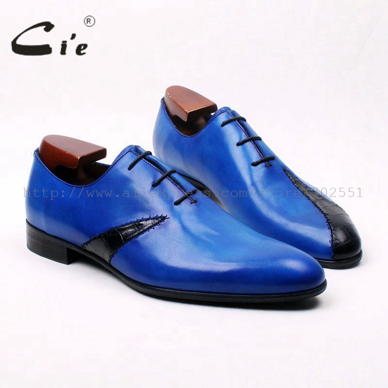 cie round toe blue mixed black patched men's casual shoe 100%genuine calf leather bespoke men shoe handmade leather shoe OX577 cie round toe wine black mixed colors patches shoe100