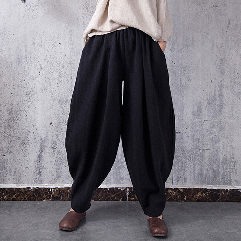 Women Pants Trousers Autumn Elastic High Waist Loose Large Solid Color Cotton Harem Pants  Plus Size XL Casual Vintage Long Pant