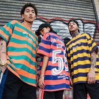 Casual Stripe Short Sleeve Men's Casual T shirt Women 2019 Summer Retro Streetwear Trend HipHop Top Tee Men