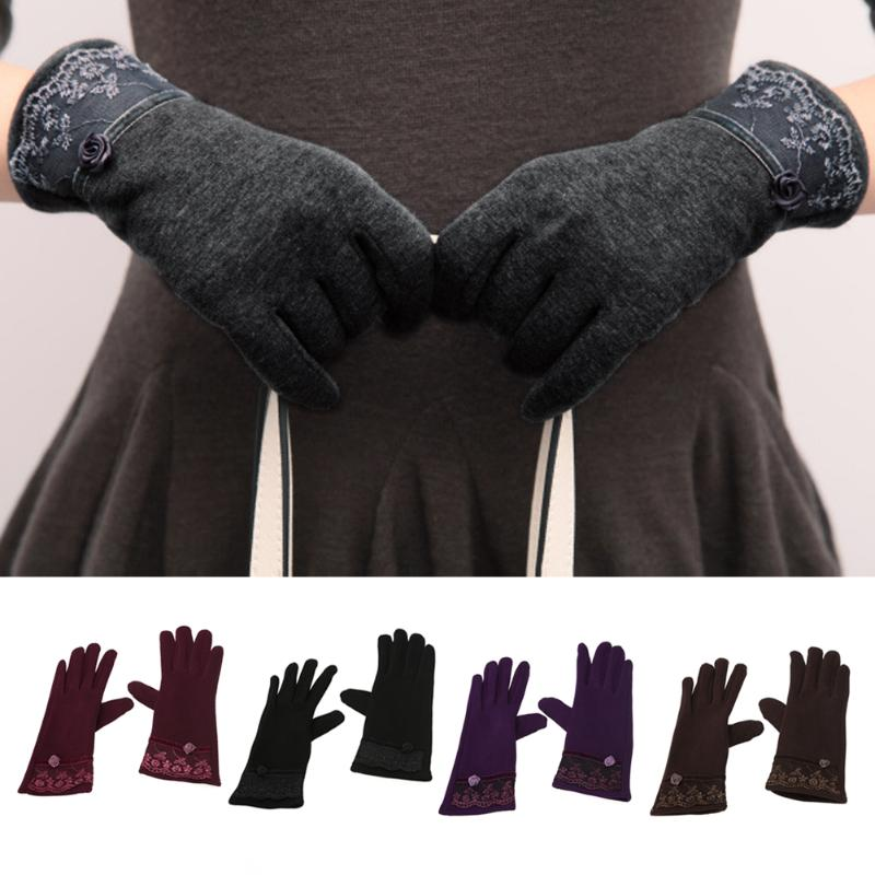 1pc Women Lace Gloves Touch Screen Mittens Sheep Winter Warm Gants Tactile Glove Fashion Elegant For Female Feminina Mujer