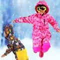 Зимой Дети Лыжный Комбинезон Мальчики и Девочки Открытый Ветрозащитный Комбинезон Лыжный Костюм В Целом Полиэстер Геометрическая Розовый Зима Теплая Наряды