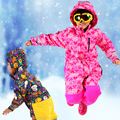 Winter Kids Ski Rompers Boys & Girls Outdoor Windproof Jumpsuit Ski Suit Overall Polyester Geometric Pink Winter Warm Outfits