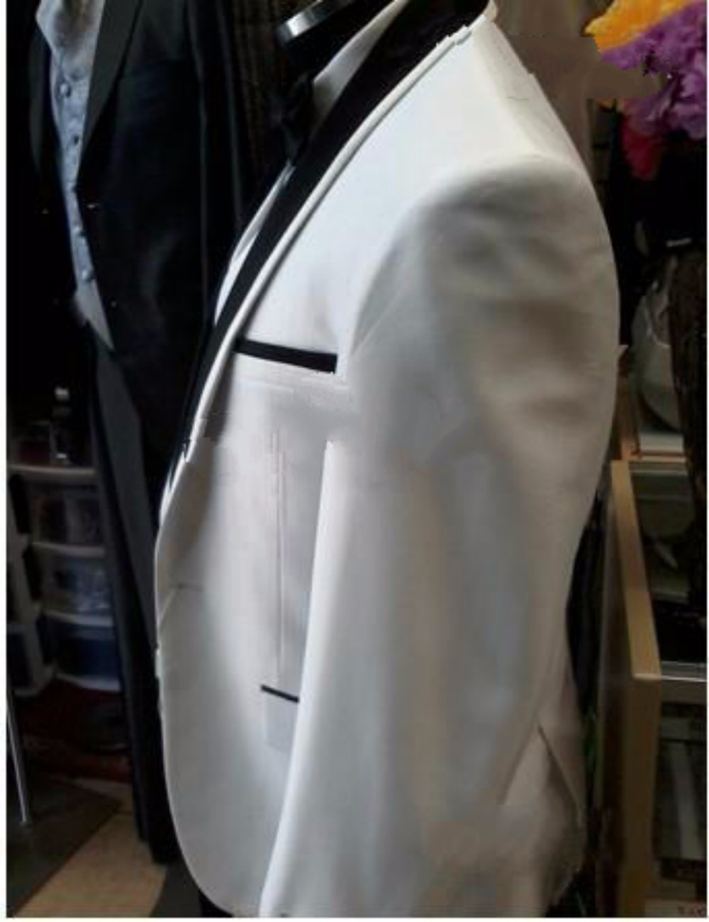 Custom Design Side Slit One Button White Groom Tuxedos Black Satin Lapel Groomsman Best man Suits (Jacket+Pants+Vest+Tie) NO-169 (1)