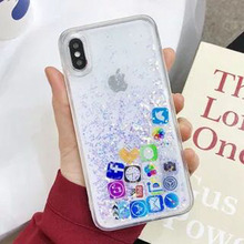 Cong fee Liquid Hard PC  Phone Shell with liquid sand Cover Cute APP icon phone case for iphoneX XR XS MAX 6S 7 8SPlus