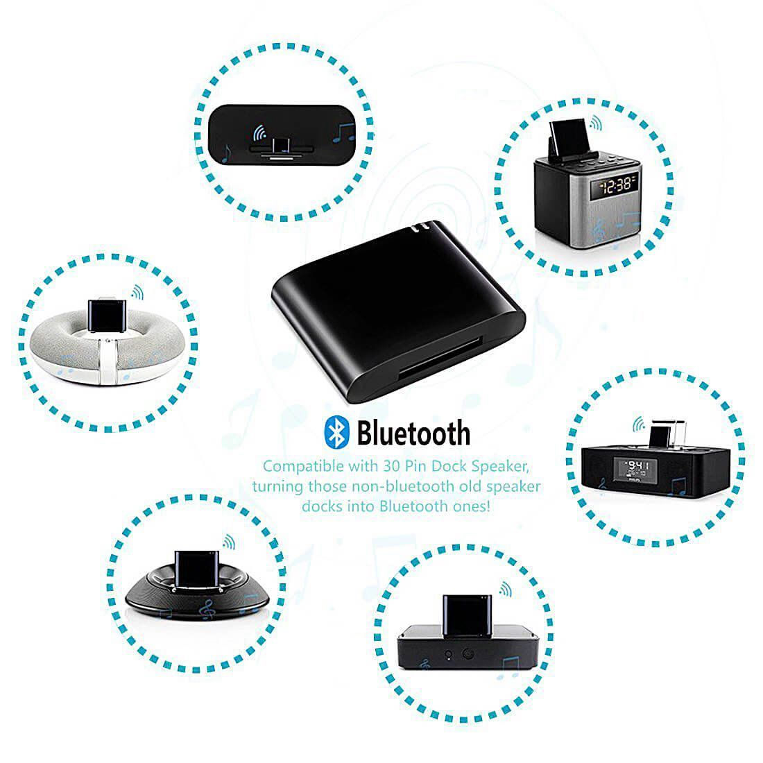 HOT 30pin Bluetooth Adapter 4.1 A2DP Audio Music Receiver For Sounddock And 30Pin IPhone IPod