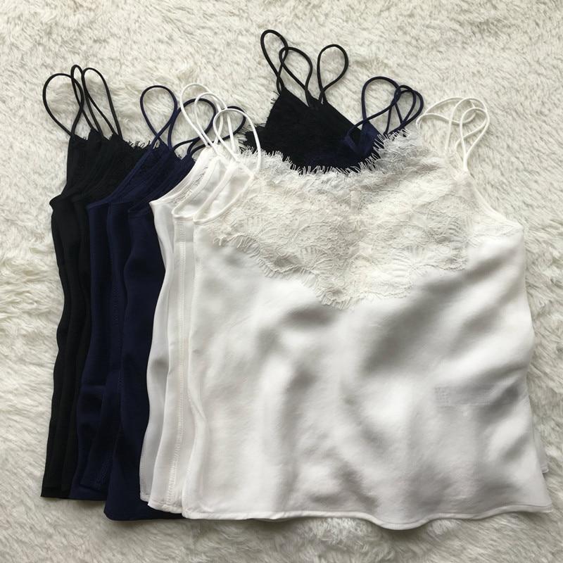 Naturel soie camisoles tops femmes 100% soie dentelle tops 2018 printemps été nouveau doux blouse noir bleu blanc couleur
