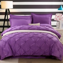 Wongs Bedding Luxury Purple Solid Bedding Sets Silk Satin Sheets Bed Linen Cotton Duvet Cover Bedsheet 4PCS Queen King Size(China)