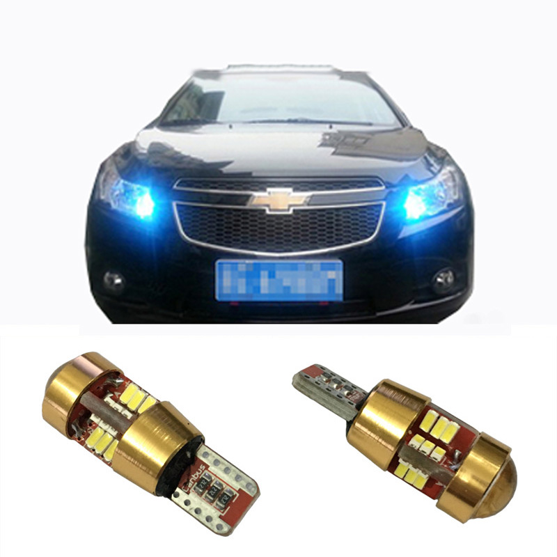 2pcs Led W5W T10 Canbus Car Light With Projector Lens For Chevrolet Cobalt Orlando Spark Cruz Captiva Lacetti Niva Aveo Cruze