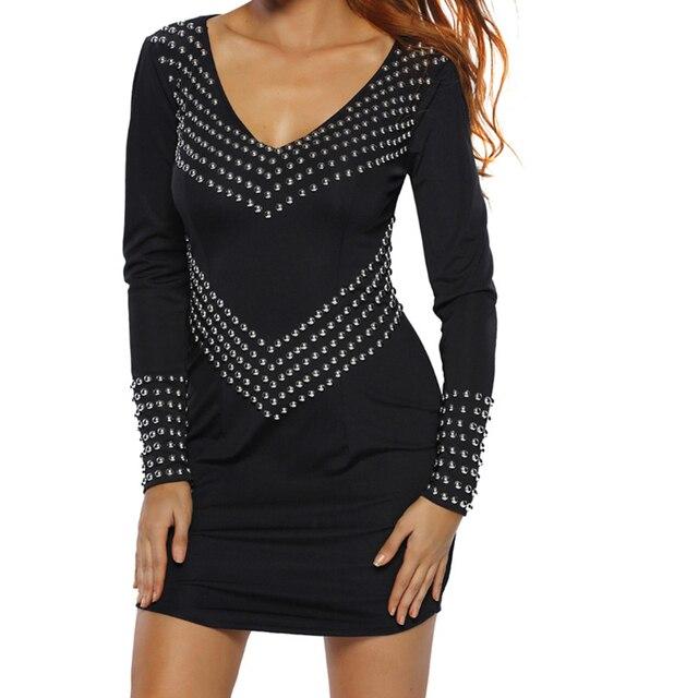 67552280dd 2017 Women Sleeve Studded Bandage Dress Mini Sexy Club Mesh Bodycon Party  Black M Dresses
