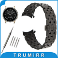 22mm Stainless Steel Watch Band Curved End Strap for Vector Luna / Meridian Butterfly Buckle Wrist Belt Bracelet Black Silver