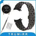 22mm de Acero Inoxidable Reloj Banda Correa de Vector de Extremo Curvo Luna/Meridiano Mariposa Hebilla de Pulsera Pulsera de La Correa Negro plata