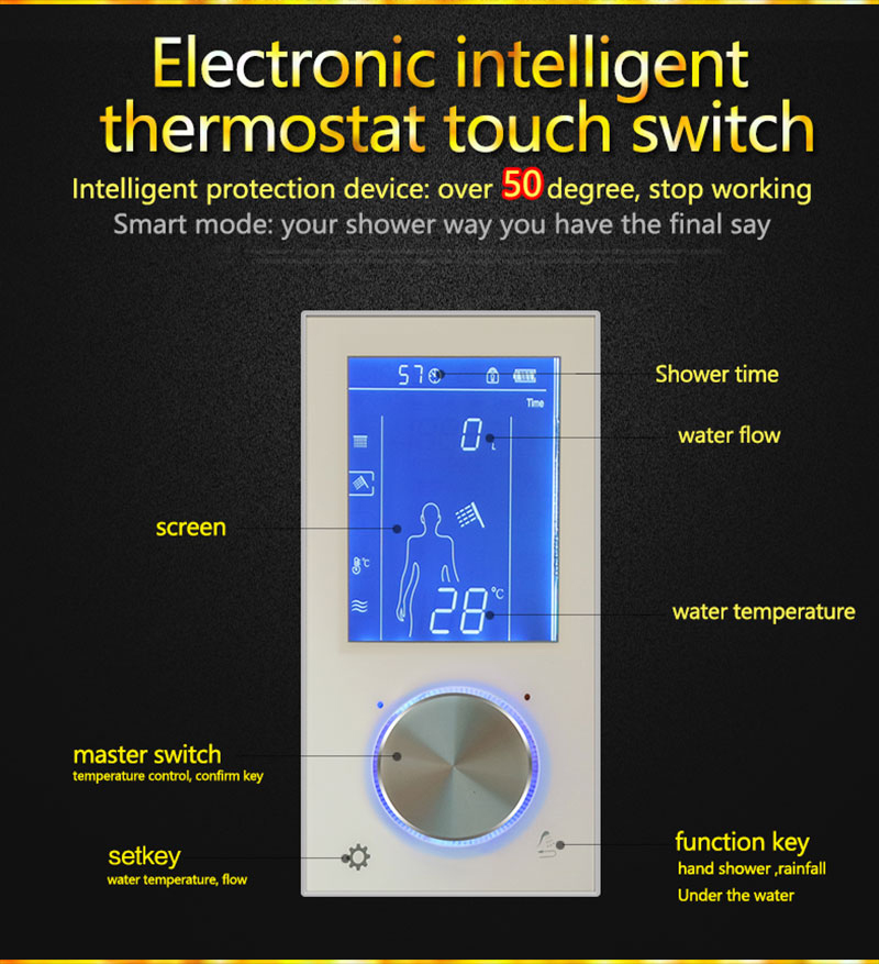Digital Shower Set Controller Touch Control Panel SUS304 Rainfall Bathroom Thermostatic Control Led Digital Shower Faucet (5)