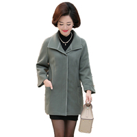 WAEOLSA Middle Aged Womans Wrap Tweed Overcoat Office Style Outfits Autumn Women Blends Coats Green Pink