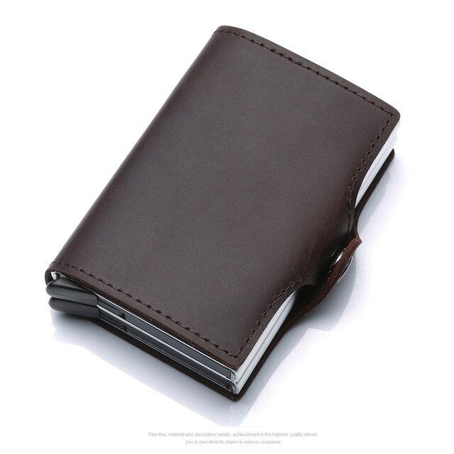 Nouveau porte-carte de crédit en métal automatique pop up portefeuille en aluminium antivol Rfid bloquant le porte-monnaie en cuir porte-monnaie