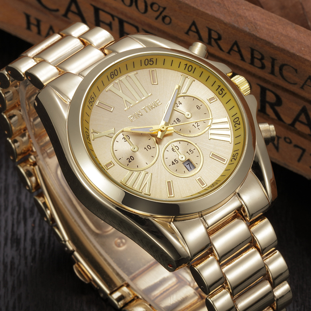 2016 Luxury Brand Watches Women men Unisex Quartz Analog Wristwatch Gold Band Roman Numerals Dial Watch Relogio Feminino