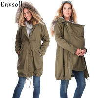 Maternity Coats Jacket Kangaroo Winter Maternity Hoody Long Sleeve Dress Outerwear Coat For Pregnant Women With