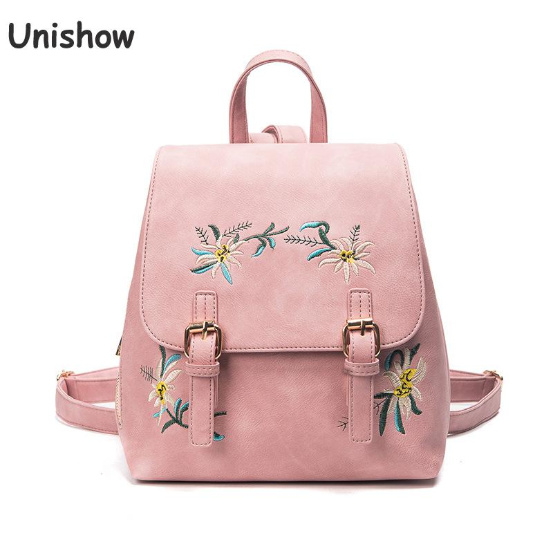 Unishow Embroidered Flowers Women Backpack Fashion Casual Pu Leather Backback Brand Lady Female Bag Young Girl School Bag трусы стринги женские vis a vis цвет черный dl1104 размер xs 42 page 7