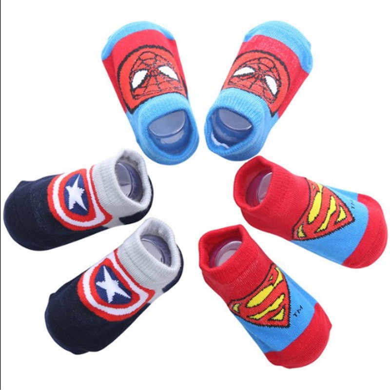 3Pcs/Pack Cute Cartoon Superman National Flag Baby Kids Socks Cotton Active Non-Slip Unisex Short Socks