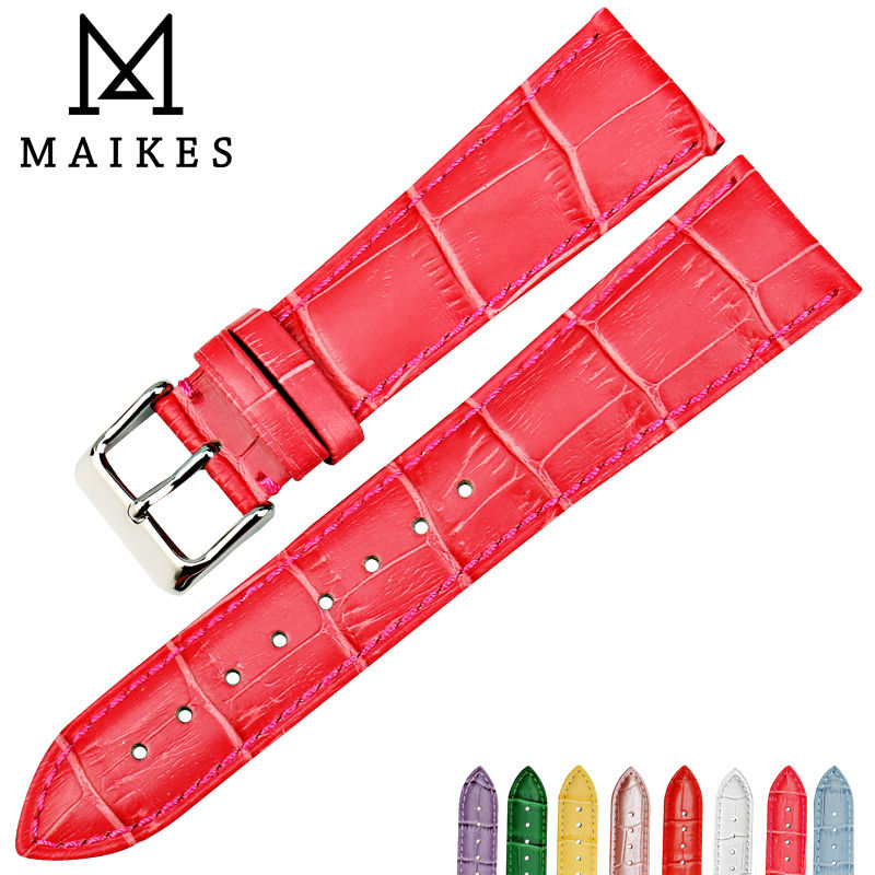 MAIKES New fashion rose red watchbands 16 18 19 20 22mm genuine leather watch strap watch