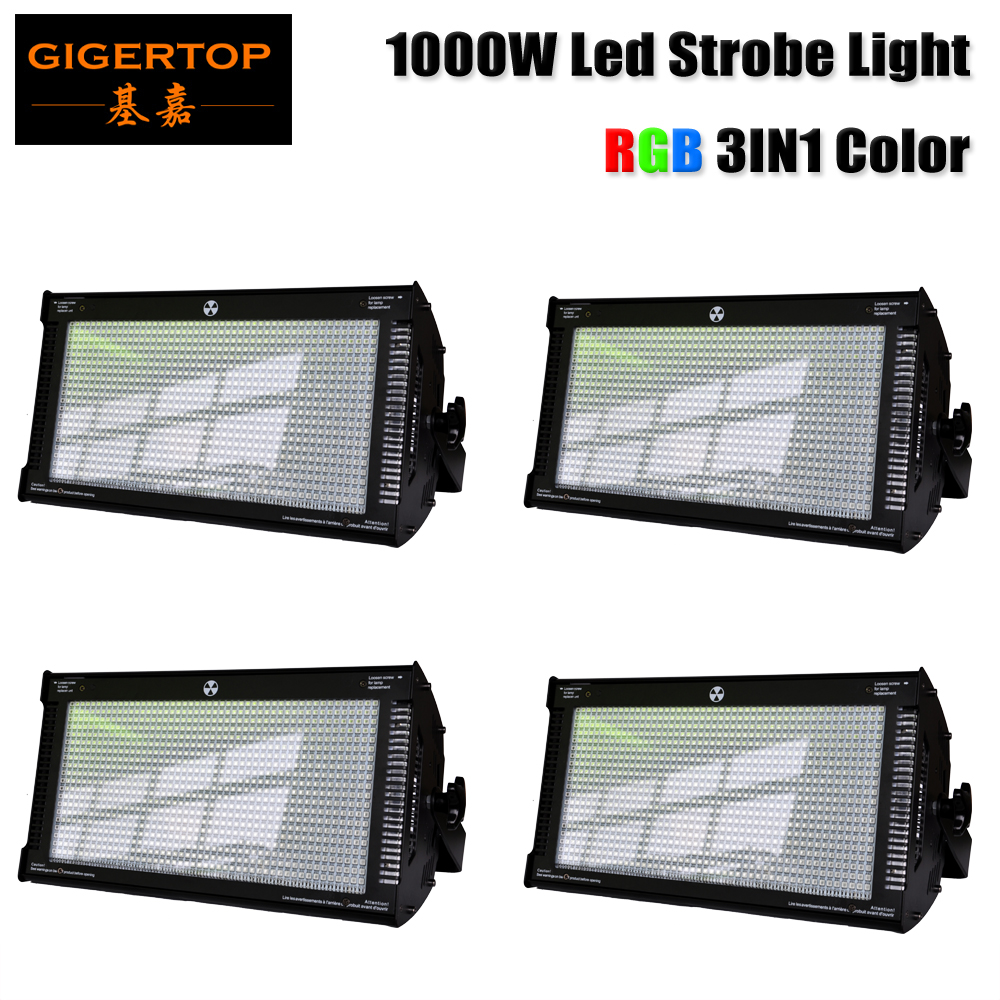 Freeshipping 4 Unit 1000W White LED Stage Light Strobe Flash Projector For Club Party Disco Bar KTV RGB 3IN1 Tyanshine Patch