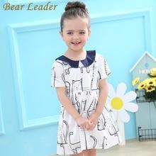 Bear Leader Girls Dress 2019 Brand Summer Princess Dress Cartoon Pattern Short Turn-down Collar Bow Design for Baby Girs Dress