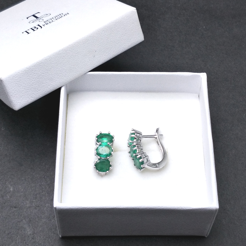TBJ,good clasp earring with natural emerald gemstone in 925 sterling silver design for women Valentine or anniversary gift box