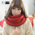 knitted scarf women Fashion Pure neck Woolen Scarf Autumn Winter Scarf Women Warm shawls 2 Circle Cable Knit Long Ring Scarf