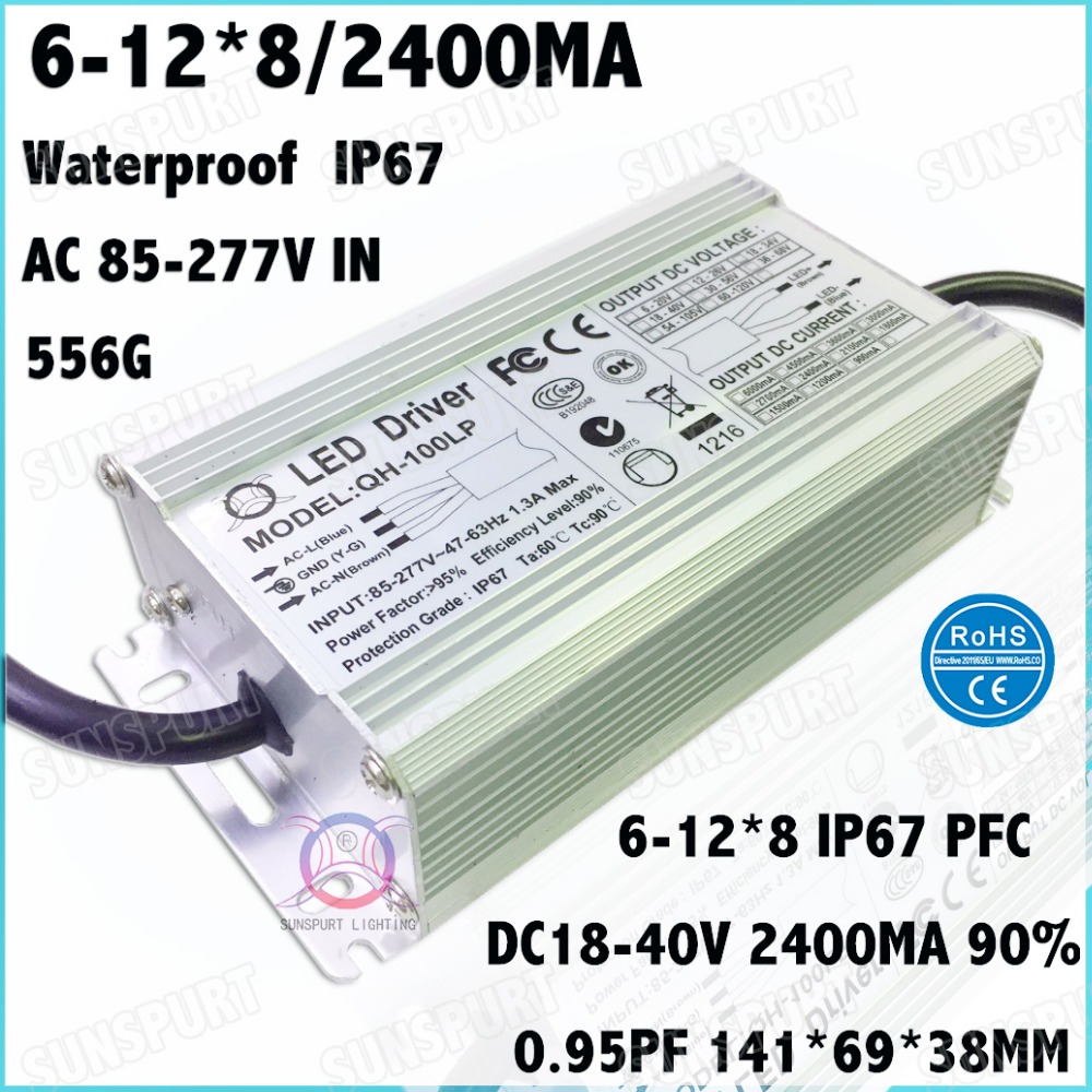 2 Pcs High PFC IP67 100W AC85 277V LED Driver 6 12Cx8B 2400mA DC18 40V Constant
